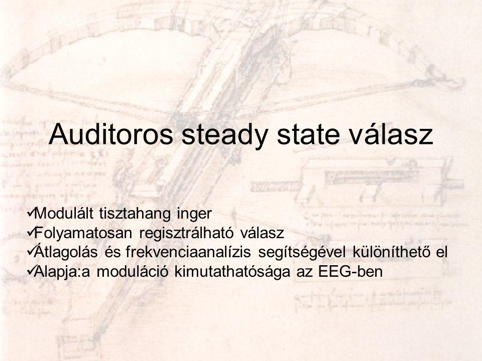 Auditoros steady state válasz  Modulált tisztahang inger  Folyamatosan regisztrálható válasz  Átlagolás és frekvenciaanalízis segítségével különíth