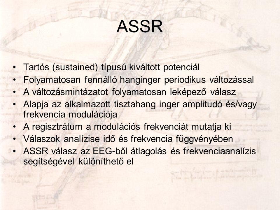 ASSR •Tartós (sustained) típusú kiváltott potenciál •Folyamatosan fennálló hanginger periodikus változással •A változásmintázatot folyamatosan leképez