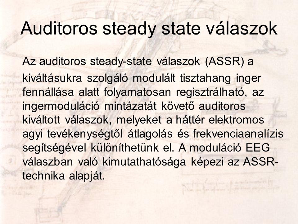 Auditoros steady state válaszok Az auditoros steady-state válaszok (ASSR) a kiváltásukra szolgáló modulált tisztahang inger fennállása alatt folyamato