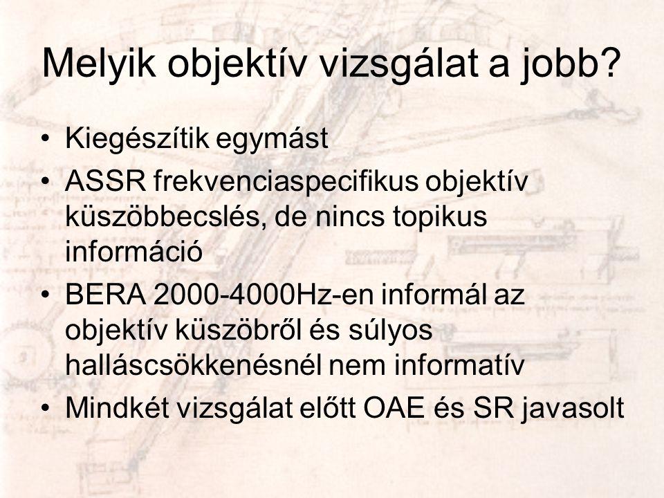 Melyik objektív vizsgálat a jobb? •Kiegészítik egymást •ASSR frekvenciaspecifikus objektív küszöbbecslés, de nincs topikus információ •BERA 2000-4000H