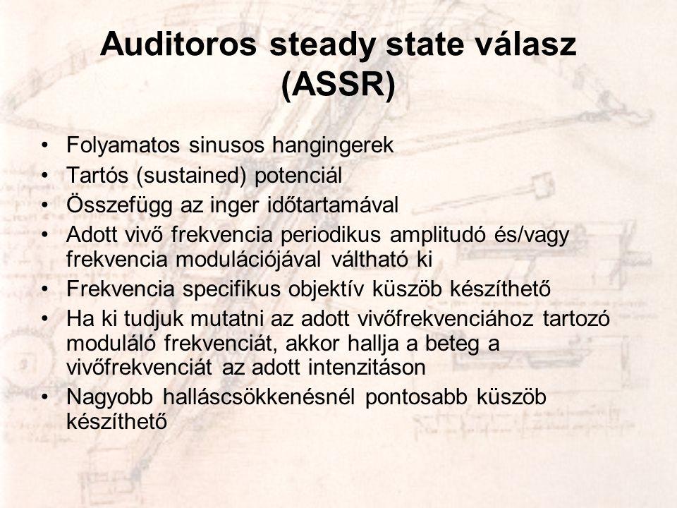 Auditoros steady state válasz (ASSR) •Folyamatos sinusos hangingerek •Tartós (sustained) potenciál •Összefügg az inger időtartamával •Adott vivő frekv