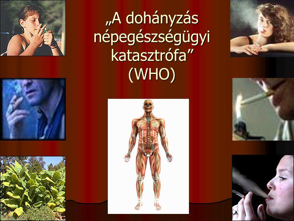 4 A dohányzás okozta halálozás Magyarországon  Magyarországon 2000-ben 134700 halálesetből 28600 – azaz minden ötödik haláleset – közvetlenül a dohányzásnak volt tulajdonítható.