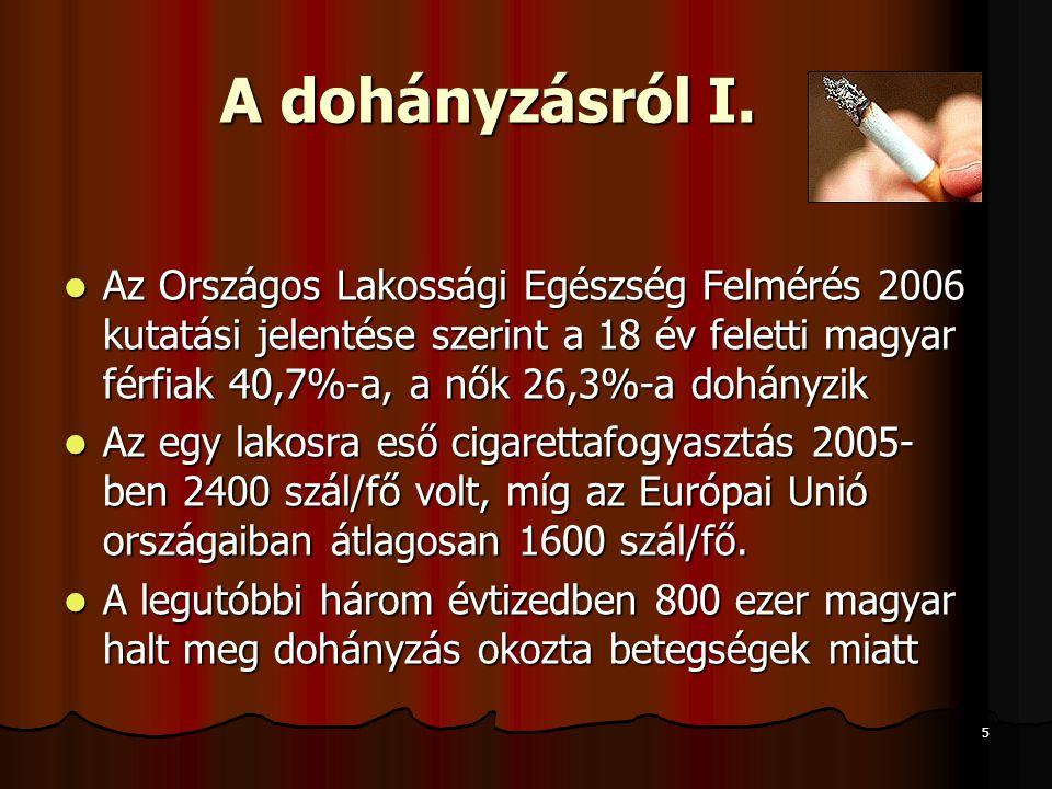 5 A dohányzásról I.  Az Országos Lakossági Egészség Felmérés 2006 kutatási jelentése szerint a 18 év feletti magyar férfiak 40,7%-a, a nők 26,3%-a do