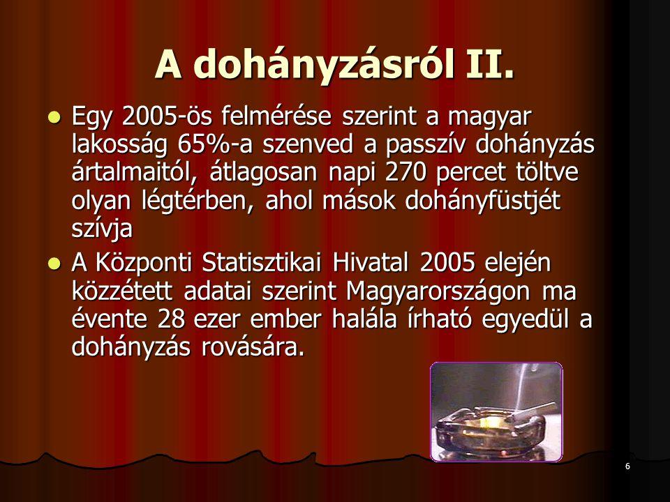 6 A dohányzásról II.  Egy 2005-ös felmérése szerint a magyar lakosság 65%-a szenved a passzív dohányzás ártalmaitól, átlagosan napi 270 percet töltve