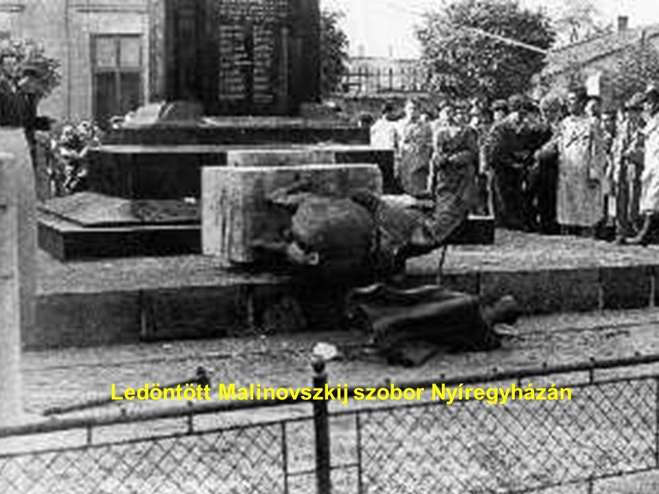 112 Ledöntött szovjet emlékmü Györött