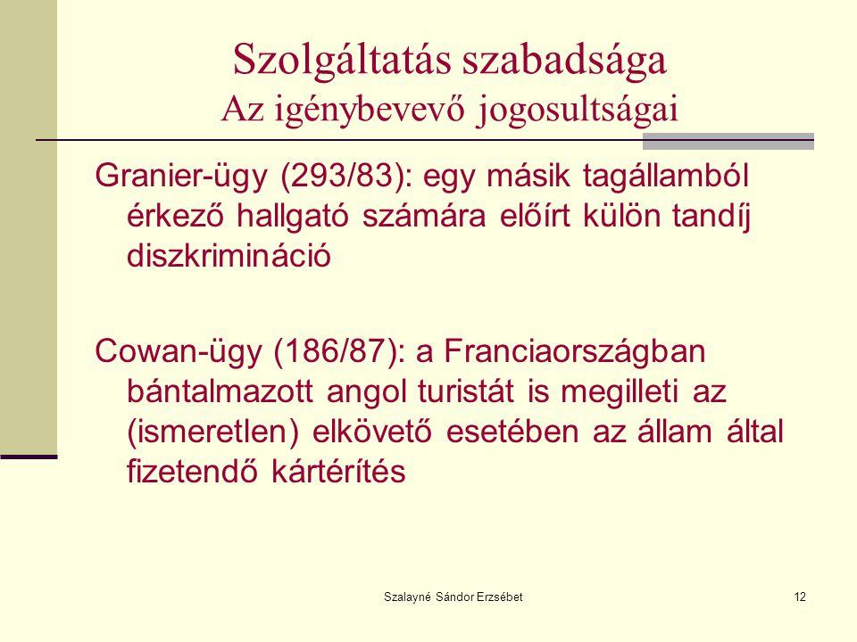 Szalayné Sándor Erzsébet12 Szolgáltatás szabadsága Az igénybevevő jogosultságai Granier-ügy (293/83): egy másik tagállamból érkező hallgató számára el