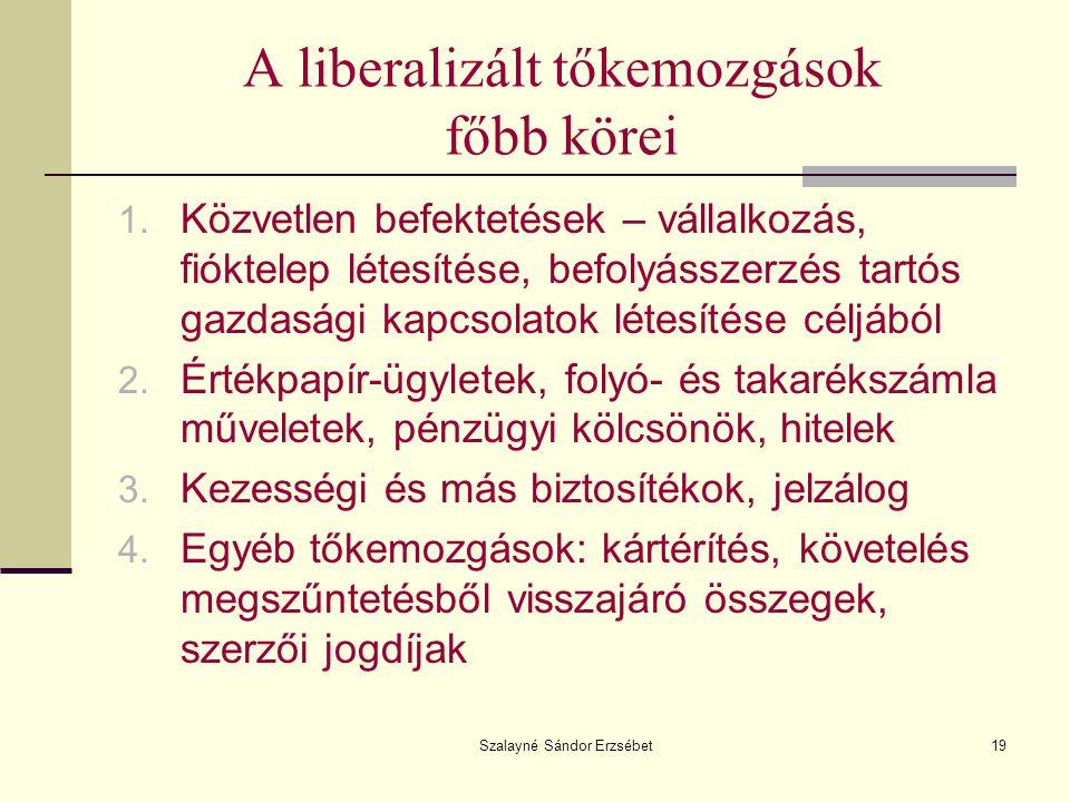 Szalayné Sándor Erzsébet19 A liberalizált tőkemozgások főbb körei 1. Közvetlen befektetések – vállalkozás, fióktelep létesítése, befolyásszerzés tartó