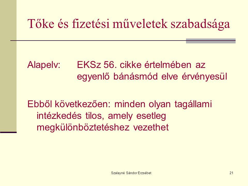 Szalayné Sándor Erzsébet21 Tőke és fizetési műveletek szabadsága Alapelv:EKSz 56. cikke értelmében az egyenlő bánásmód elve érvényesül Ebből következő