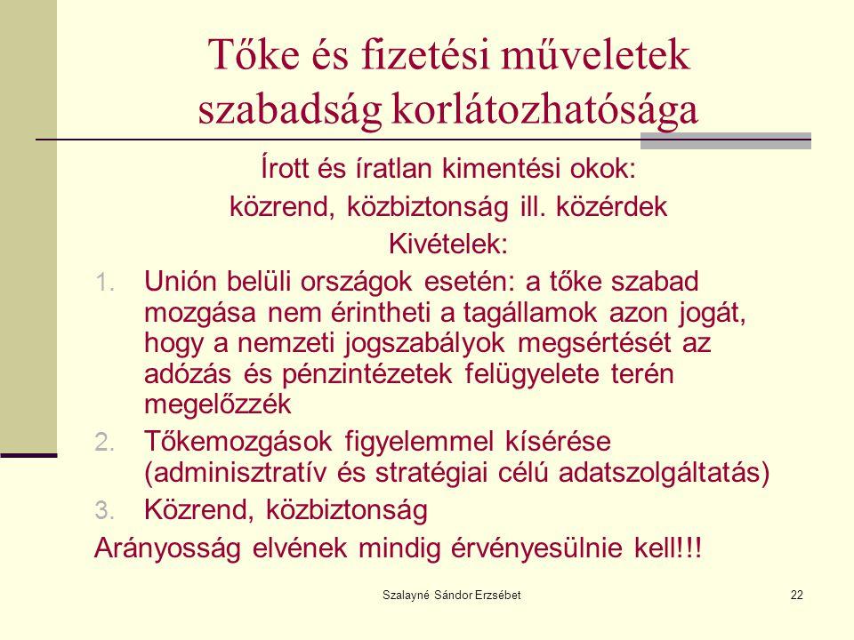 Szalayné Sándor Erzsébet22 Tőke és fizetési műveletek szabadság korlátozhatósága Írott és íratlan kimentési okok: közrend, közbiztonság ill. közérdek