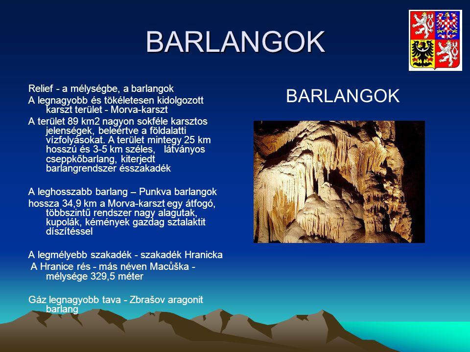 BARLANGOK Relief - a mélységbe, a barlangok A legnagyobb és tökéletesen kidolgozott karszt terület - Morva-karszt A terület 89 km2 nagyon sokféle kars