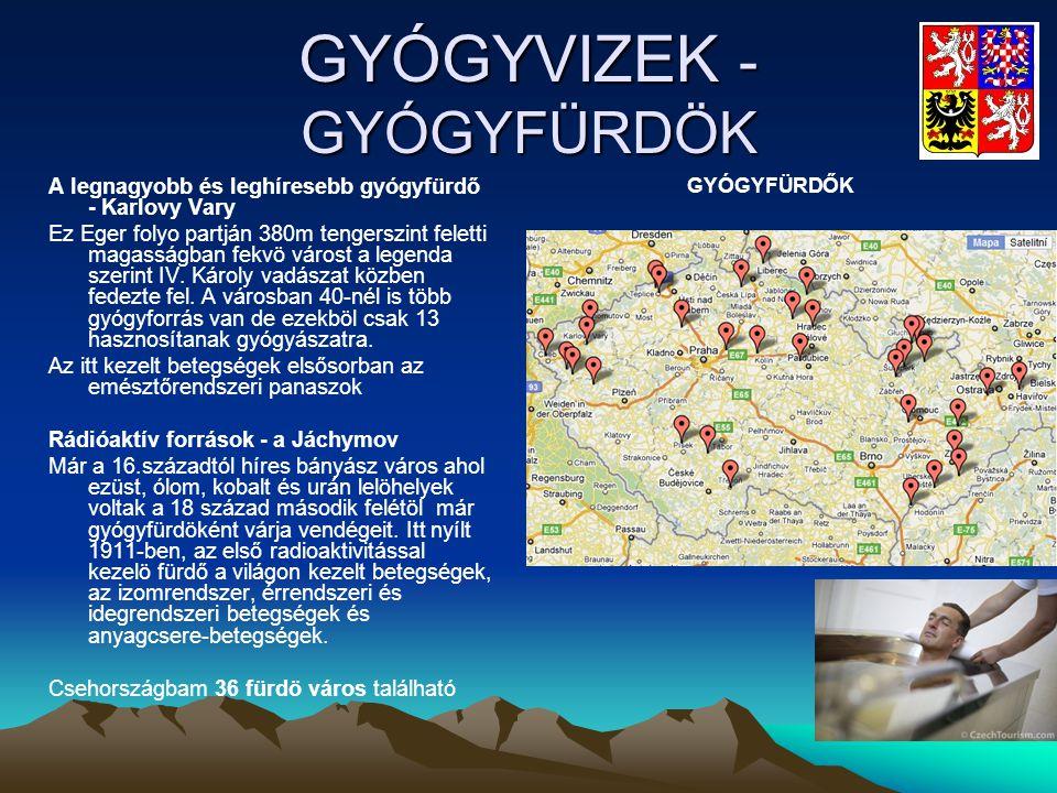 GYÓGYVIZEK - GYÓGYFÜRDÖK A legnagyobb és leghíresebb gyógyfürdő - Karlovy Vary Ez Eger folyo partján 380m tengerszint feletti magasságban fekvö várost