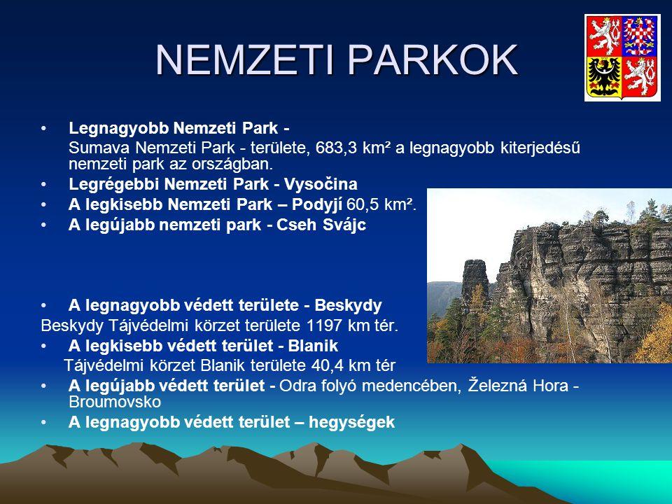 NEMZETI PARKOK •Legnagyobb Nemzeti Park - Sumava Nemzeti Park - területe, 683,3 km² a legnagyobb kiterjedésű nemzeti park az országban. •Legrégebbi Ne