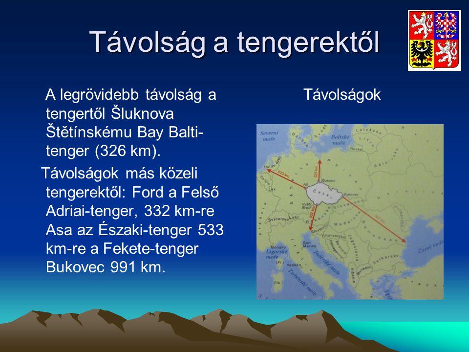 Távolság a tengerektől A legrövidebb távolság a tengertől Šluknova Štětínskému Bay Balti- tenger (326 km). Távolságok más közeli tengerektől: Ford a F