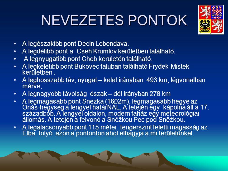 NEVEZETES PONTOK •A legészakibb pont Decin Lobendava. •A legdélibb pont a Cseh Krumlov kerületben található. • A legnyugatibb pont Cheb kerületén talá
