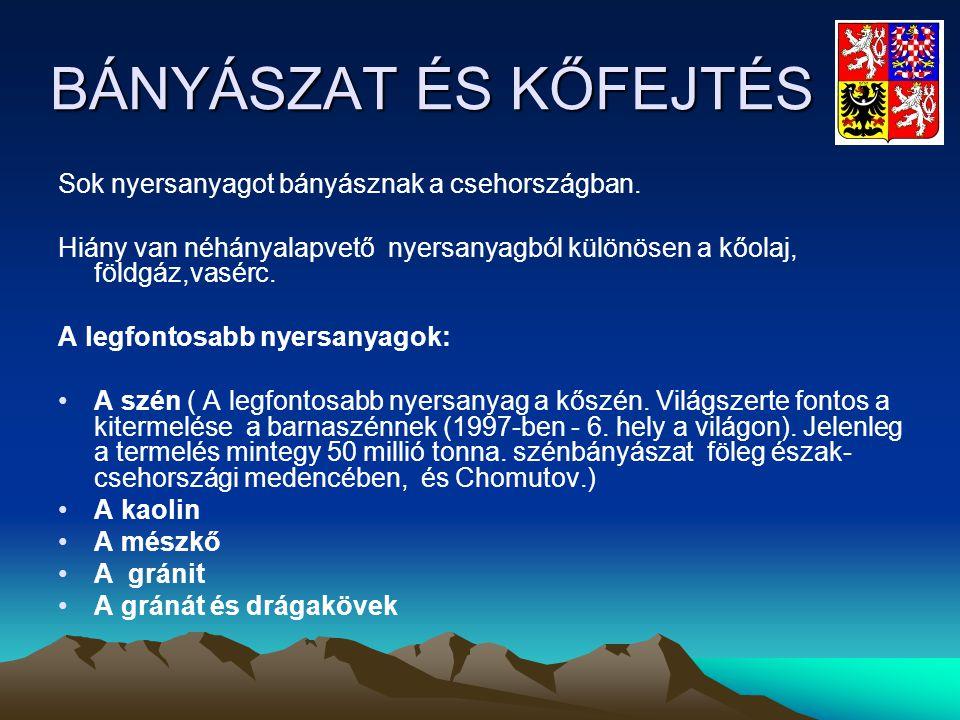 BÁNYÁSZAT ÉS KŐFEJTÉS Sok nyersanyagot bányásznak a csehországban. Hiány van néhányalapvető nyersanyagból különösen a kőolaj, földgáz,vasérc. A legfon