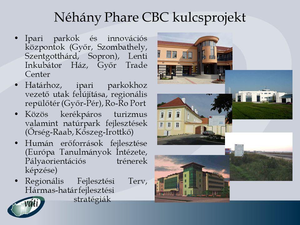Néhány Phare CBC kulcsprojekt •Ipari parkok és innovációs központok (Győr, Szombathely, Szentgotthárd, Sopron), Lenti Inkubátor Ház, Győr Trade Center
