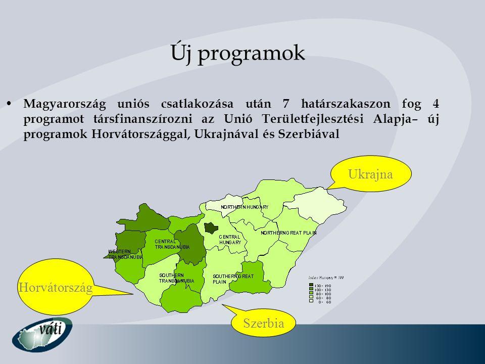 Új programok • Magyarország uniós csatlakozása után 7 határszakaszon fog 4 programot társfinanszírozni az Unió Területfejlesztési Alapja– új programok
