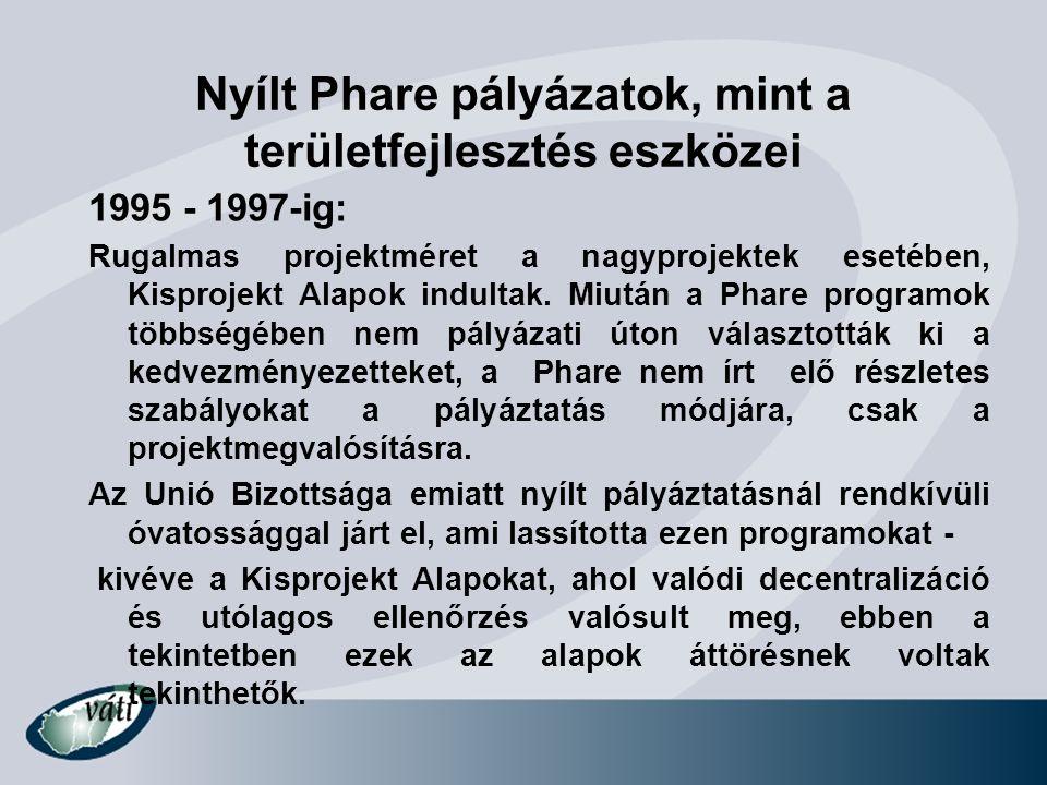 Nyílt Phare pályázatok, mint a területfejlesztés eszközei 1998-1999: 2 millió euró feletti nagyprojektek és Kisprojekt Alapok: Fókusz az infrastrukturális beruházásokon a valódi Interreg-szerű partnerségek helyett.
