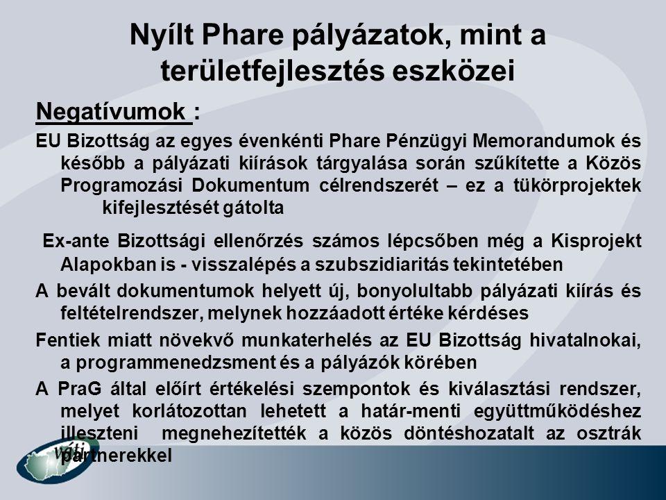 Nyílt Phare pályázatok, mint a területfejlesztés eszközei Negatívumok : EU Bizottság az egyes évenkénti Phare Pénzügyi Memorandumok és később a pályáz