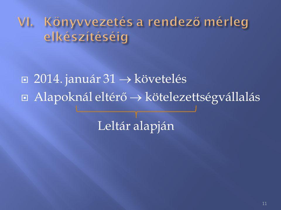  2014. január 31  követelés  Alapoknál eltérő  kötelezettségvállalás 11 Leltár alapján