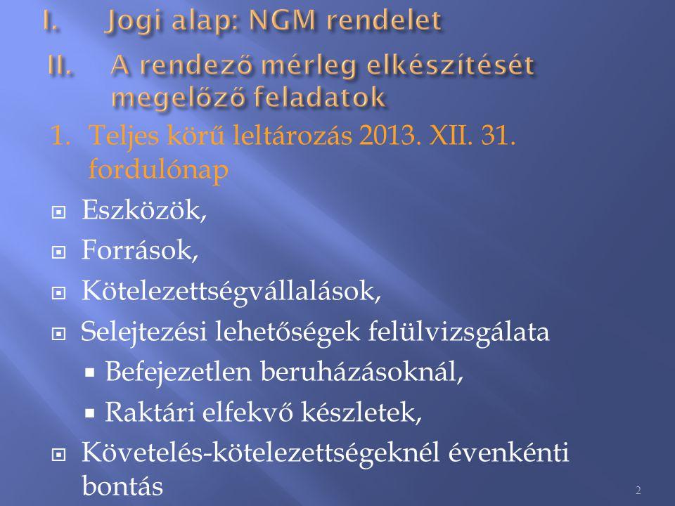 1.Teljes körű leltározás 2013. XII. 31. fordulónap  Eszközök,  Források,  Kötelezettségvállalások,  Selejtezési lehetőségek felülvizsgálata  Befe