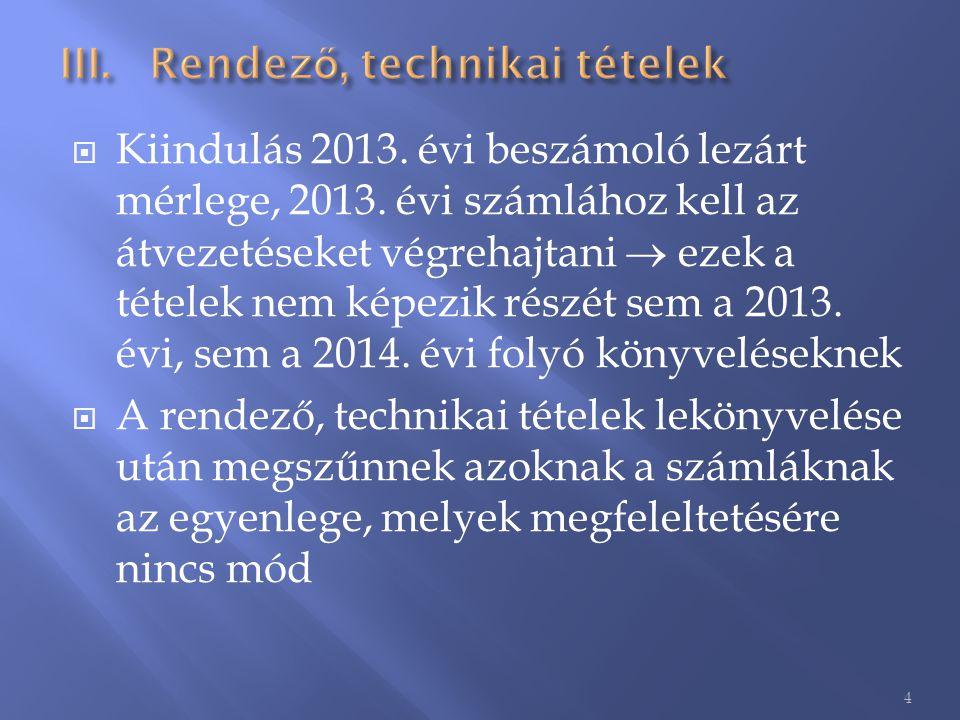  Kiindulás 2013. évi beszámoló lezárt mérlege, 2013. évi számlához kell az átvezetéseket végrehajtani  ezek a tételek nem képezik részét sem a 2013.