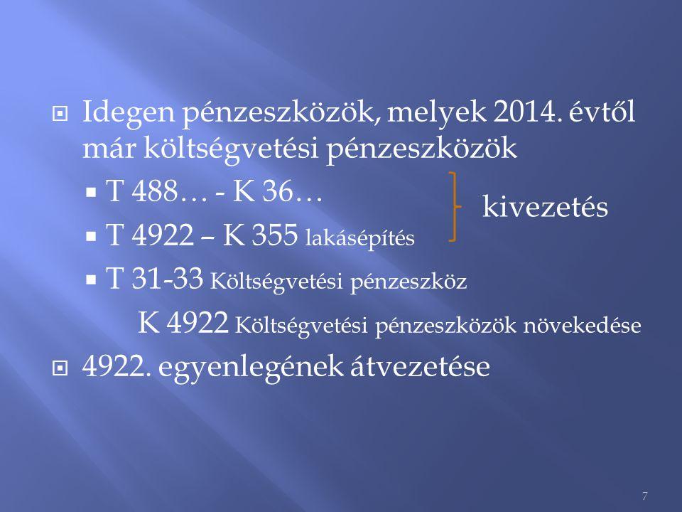  Idegen pénzeszközök, melyek 2014. évtől már költségvetési pénzeszközök  T 488… - K 36…  T 4922 – K 355 lakásépítés  T 31-33 Költségvetési pénzesz