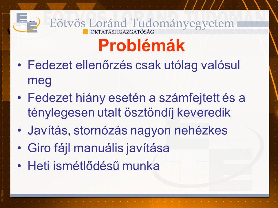 Problémák •Fedezet ellenőrzés csak utólag valósul meg •Fedezet hiány esetén a számfejtett és a ténylegesen utalt ösztöndíj keveredik •Javítás, stornóz