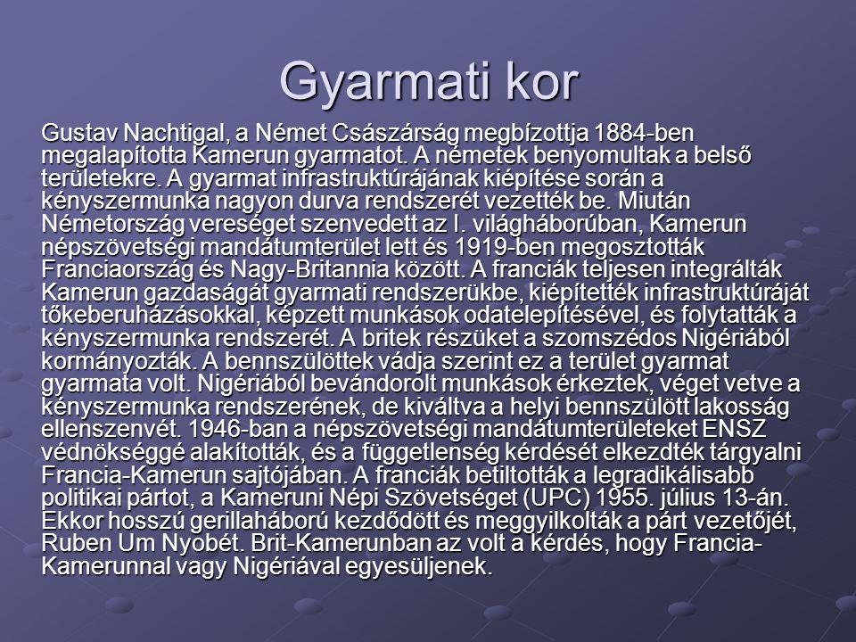 Gyarmati kor Gustav Nachtigal, a Német Császárság megbízottja 1884-ben megalapította Kamerun gyarmatot. A németek benyomultak a belső területekre. A g