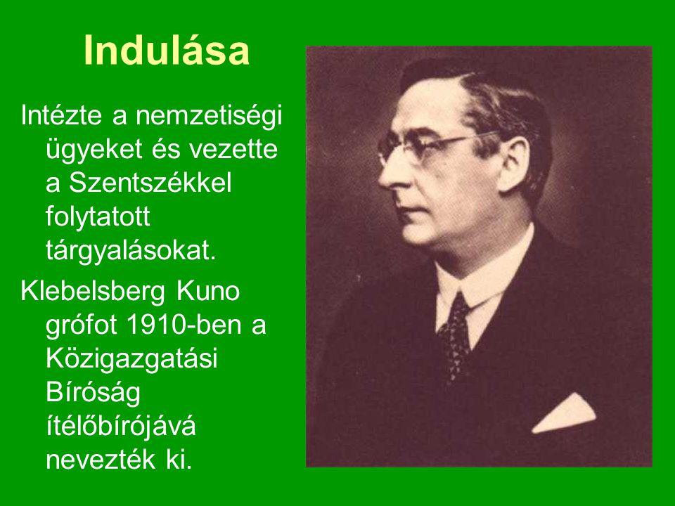 Indulása Intézte a nemzetiségi ügyeket és vezette a Szentszékkel folytatott tárgyalásokat. Klebelsberg Kuno grófot 1910-ben a Közigazgatási Bíróság ít