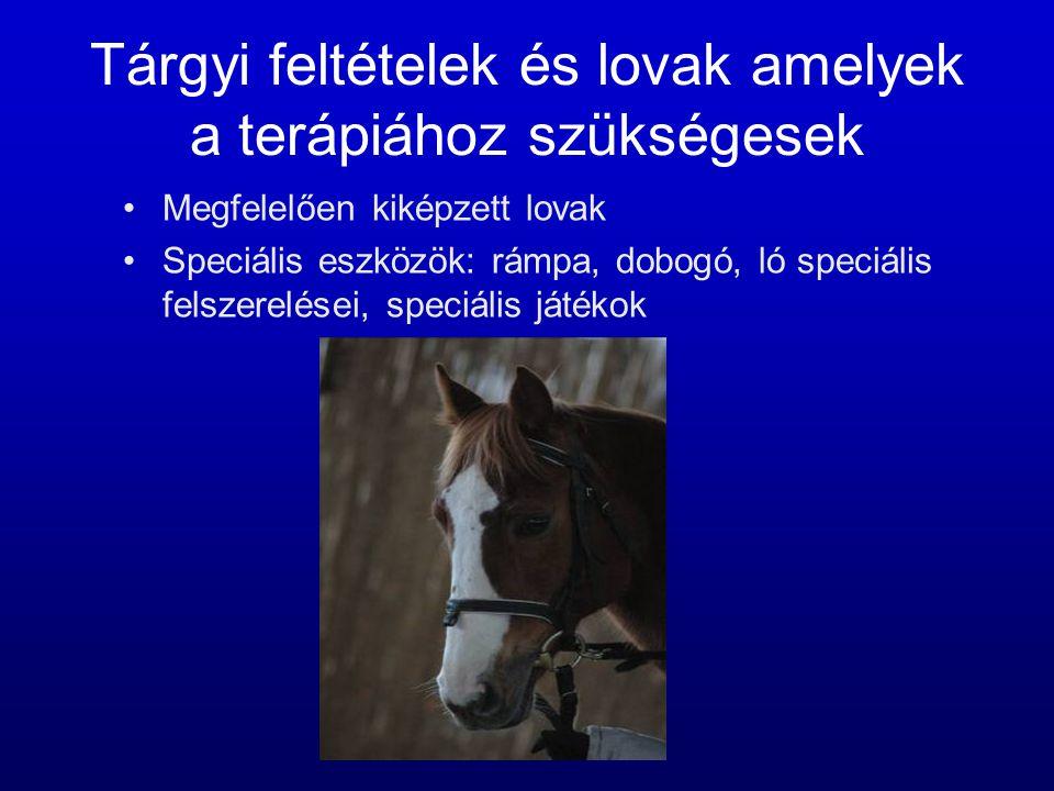 Tárgyi feltételek és lovak amelyek a terápiához szükségesek •Megfelelően kiképzett lovak •Speciális eszközök: rámpa, dobogó, ló speciális felszerelése
