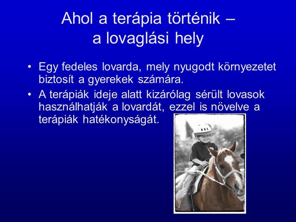 Ahol a terápia történik – a lovaglási hely •Egy fedeles lovarda, mely nyugodt környezetet biztosít a gyerekek számára. •A terápiák ideje alatt kizáról