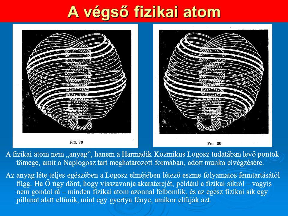 """A végső fizikai atom A fizikai atom nem """"anyag"""", hanem a Harmadik Kozmikus Logosz tudatában levő pontok tömege, amit a Naplogosz tart meghatározott fo"""