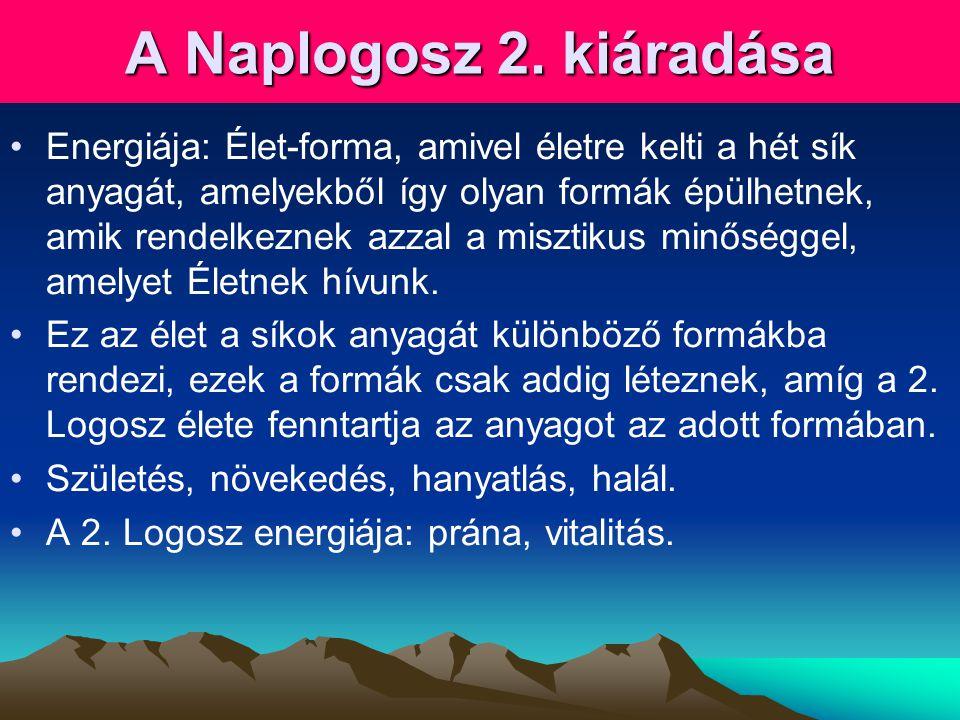 A Naplogosz 2. kiáradása •Energiája: Élet-forma, amivel életre kelti a hét sík anyagát, amelyekből így olyan formák épülhetnek, amik rendelkeznek azza