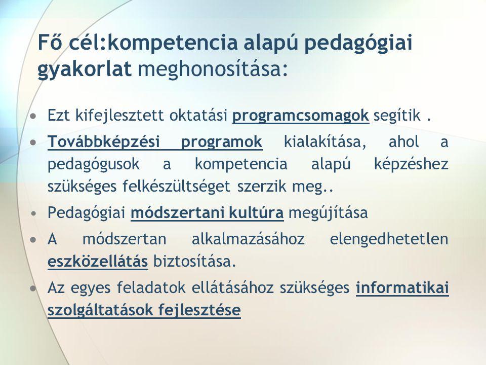 Fő cél:kompetencia alapú pedagógiai gyakorlat meghonosítása:  Ezt kifejlesztett oktatási programcsomagok segítik.  Továbbképzési programok kialakítá