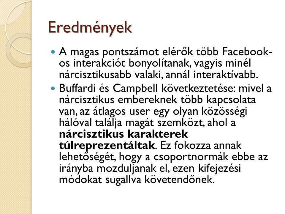 Eredmények  A magas pontszámot elérők több Facebook- os interakciót bonyolítanak, vagyis minél nárcisztikusabb valaki, annál interaktívabb.  Buffard