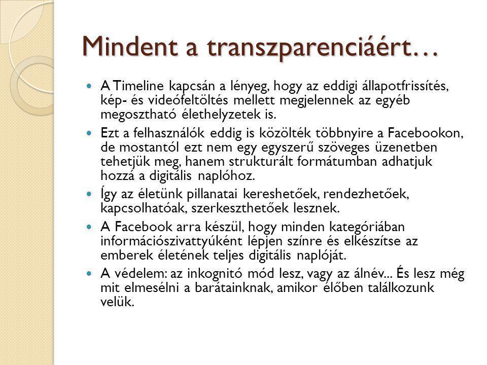 Mindent a transzparenciáért…  A Timeline kapcsán a lényeg, hogy az eddigi állapotfrissítés, kép- és videófeltöltés mellett megjelennek az egyéb megos