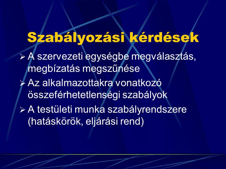Testületi vezetés  Testületiség - operativitás  Szervezeti egységek: a közgyűlés, a szűkebb végrehajtó testület, a felügyelő bizottság, a titkárság, a tisztségviselők (elnök, a tanács tagjai, a titkárság vezetője)