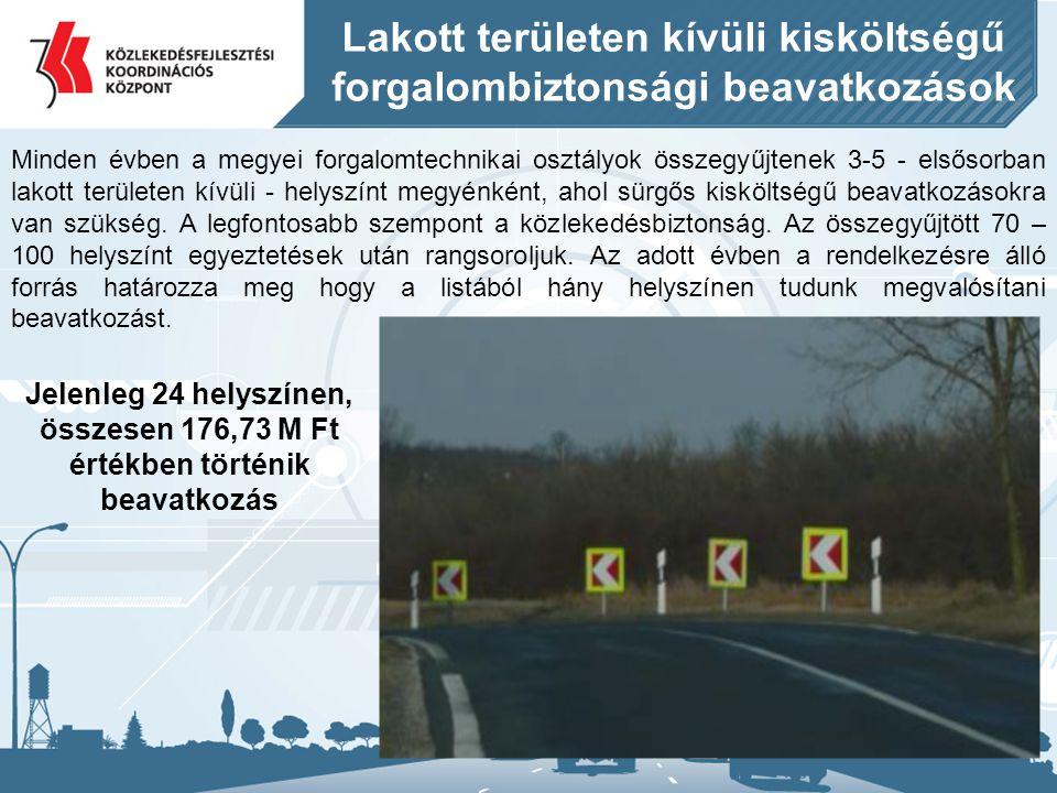 Lakott területen kívüli kisköltségű forgalombiztonsági beavatkozások Minden évben a megyei forgalomtechnikai osztályok összegyűjtenek 3-5 - elsősorban