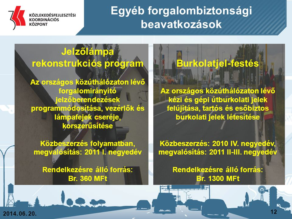Egyéb forgalombiztonsági beavatkozások 2014. 06. 20. 12 Jelzőlámpa rekonstrukciós program Az országos közúthálózaton lévő forgalomirányító jelzőberend
