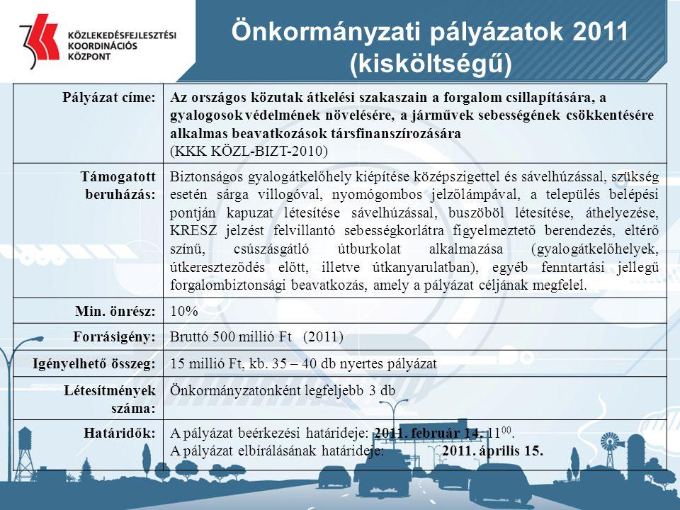 Önkormányzati pályázatok 2011 (kisköltségű) Pályázat címe:Az országos közutak átkelési szakaszain a forgalom csillapítására, a gyalogosok védelmének n