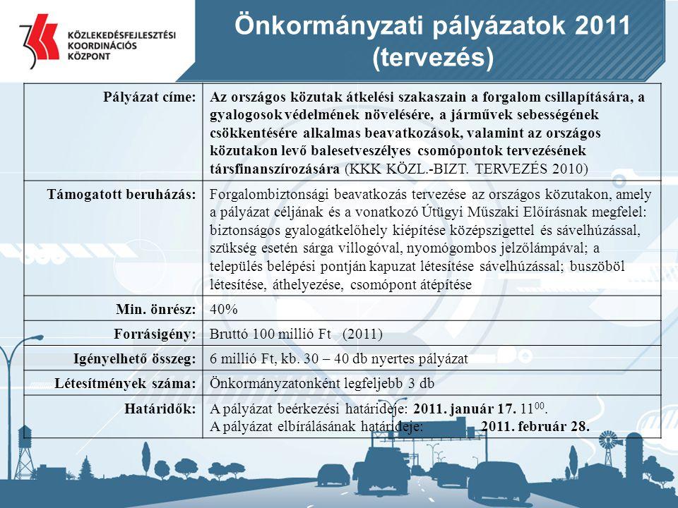 Önkormányzati pályázatok 2011 (tervezés) Pályázat címe:Az országos közutak átkelési szakaszain a forgalom csillapítására, a gyalogosok védelmének növe
