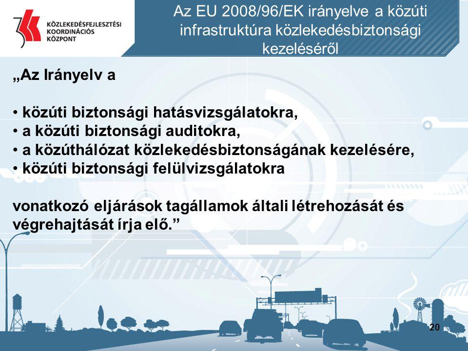 """20 """"Az Irányelv a • közúti biztonsági hatásvizsgálatokra, • a közúti biztonsági auditokra, • a közúthálózat közlekedésbiztonságának kezelésére, • közú"""