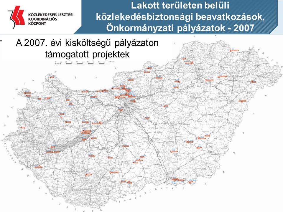 Lakott területen belüli közlekedésbiztonsági beavatkozások, Önkormányzati pályázatok - 2007 A 2007. évi kisköltségű pályázaton támogatott projektek
