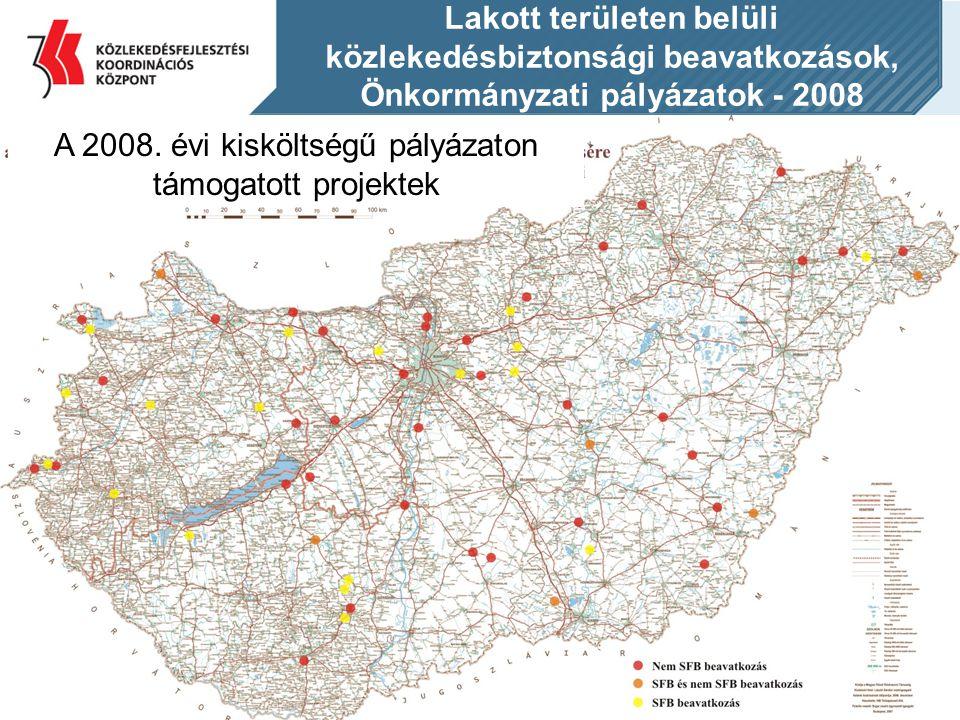 Lakott területen belüli közlekedésbiztonsági beavatkozások, Önkormányzati pályázatok - 2008 A 2008. évi kisköltségű pályázaton támogatott projektek