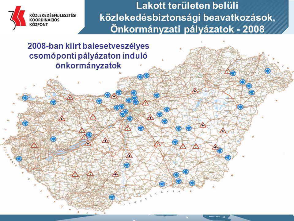 Lakott területen belüli közlekedésbiztonsági beavatkozások, Önkormányzati pályázatok - 2008 2008-ban kiírt balesetveszélyes csomóponti pályázaton indu