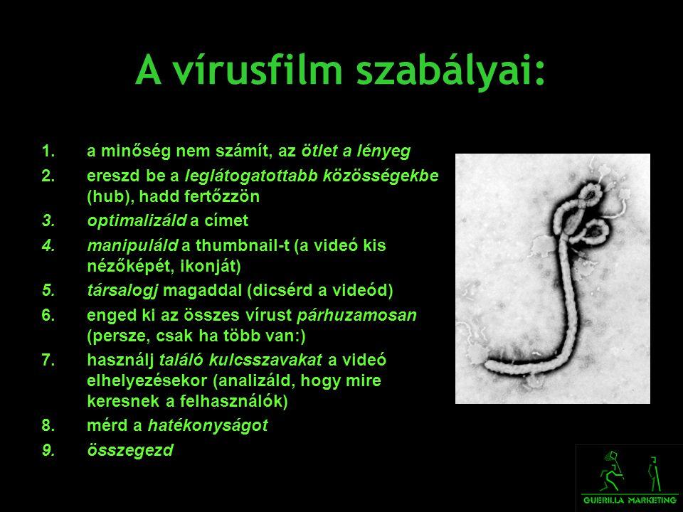 A vírusfilm szabályai: 1.a minőség nem számít, az ötlet a lényeg 2.ereszd be a leglátogatottabb közösségekbe (hub), hadd fertőzzön 3.optimalizáld a cí