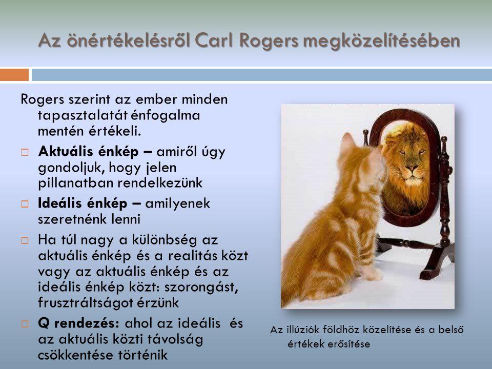 Az önértékelésről Carl Rogers megközelítésében Rogers szerint az ember minden tapasztalatát énfogalma mentén értékeli.