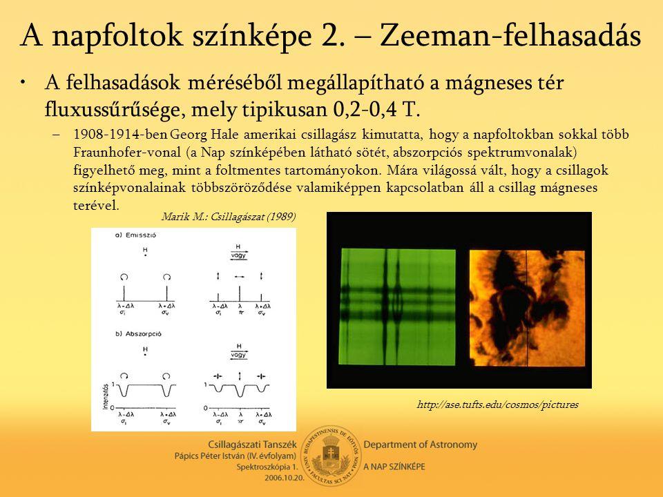 A napfoltok színképe 2. – Zeeman-felhasadás •A felhasadások méréséből megállapítható a mágneses tér fluxussűrűsége, mely tipikusan 0,2-0,4 T. –1908-19