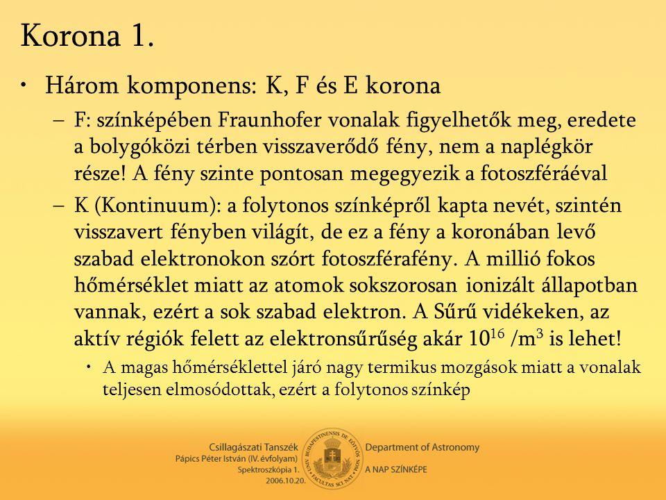 Korona 1. •Három komponens: K, F és E korona –F: színképében Fraunhofer vonalak figyelhetők meg, eredete a bolygóközi térben visszaverődő fény, nem a